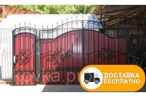 Ворота из профнастилом с элементами ковки, код: Р-0146