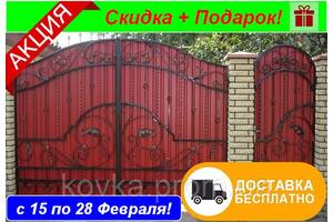 Ворота з профнастилом з кованими елементами, код: Р-0152