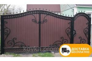 Ворота кованые, из профнастила, код: Р-0122