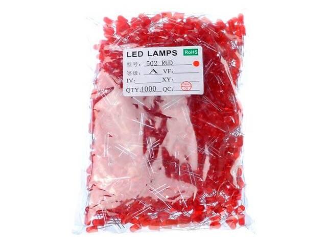 продам 1000x LED светодиод 5мм 1.8-2В 20мА, красный бу в Киеве