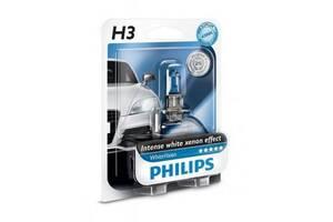 Автолампа PHILIPS H3 WhiteVision +60%, 3700K, 1шт (12336WHVB1)