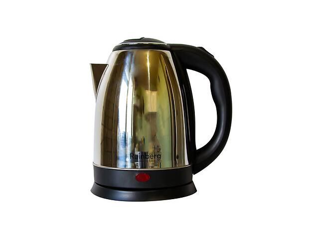 купить бу Электрический чайник Rainberg 1.8 л Черный с серебристым в Харкові