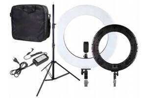 Кольцевая лампа 45 см 65w Kronos Professional RL18N с пультом и чехлом на штативе для фото визажиста блогера салона к...