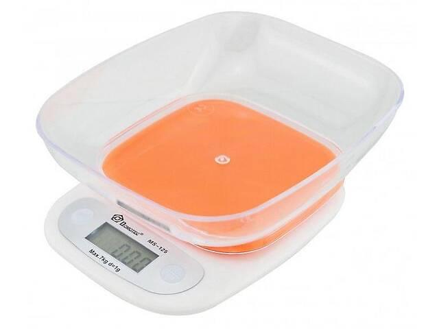 Кухонные весы Domotec Ms-125 до 7 кг с чашей и подсветкой, оранжевая платформа- объявление о продаже  в Харькове