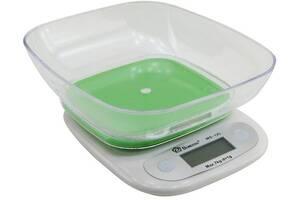 Кухонные весы Domotec Ms-125 до 7 кг с чашей и подсветкой, салатовая платформа