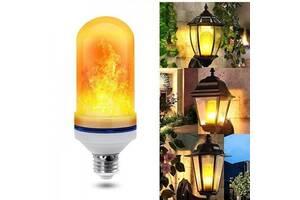 Лампа светодиодная с эффектом огня языки пламени разгорается и затухает 3 режима E27 HLV LED Flame Bulb А+