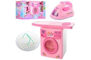 Игрушечный набор бытовой техники, стиральная машина, утюг со звуковыми и световыми эффектами 2028A, розовый