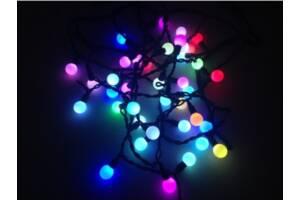 Новогодние гирлянды | Гирлянда матовый шарик 28LED 10мм RGB