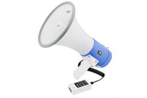 Ручной рупорный мегафон-громкоговоритель большой рупор выносной микрофон UKC 50W ER-66U White-Blue (par_er66u)