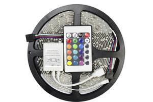 Світлодіодна стрічка SMD 3528 RGB 5м + пульт + блок