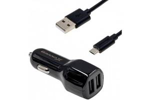 Зарядное устройство Grand-X 2,1A, 12-24V, Black 2USB 5V/2.1A + DC cable USB/Micro USB,1m (CH-26BM)