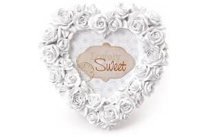 Фоторамка Sweet White Белые розы форма сердца 16х16 см (psg_BD-493-510)