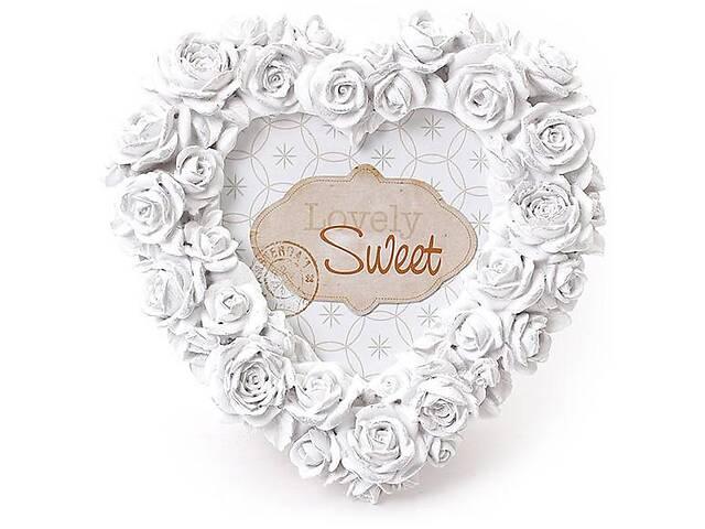 Фоторамка Sweet White Белые розы форма сердца 16х16 см (psg_BD-493-510)- объявление о продаже  в Києві