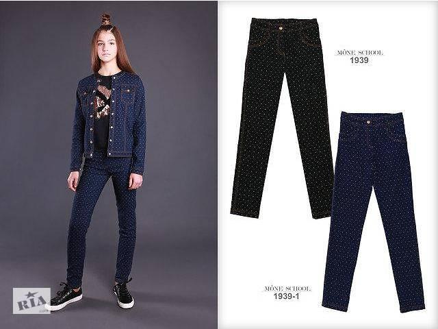 купить бу Школьные джинсовые брюки для девочки тм Моне (синие) р-р 122,128,134,140,146,152,158,164 152 в Дубно