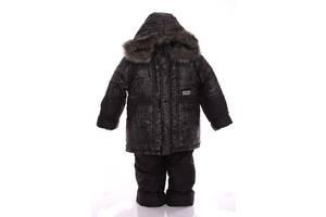 Зимний костюм для мальчика Классика с рисунком черный паутинка