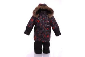 Зимний костюм для мальчика Классика с рисунком черный с кляксой