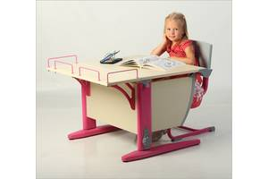 Комплект Детская парта растишка стол трансформер Demi СУТ14-01+СУТ01+ТУВ.01-01 (клен\розовый)