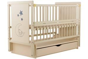 Кровать Babyroom Медвежонок M-03 маятник, ящик, откидной бок  бук слоновая кость