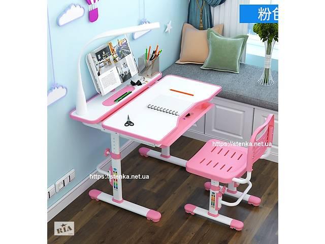 купить бу Растущая парта 80 см с лампой и подставкой + стульчик для школьников Fundesk Lavoro Pink в Киеве