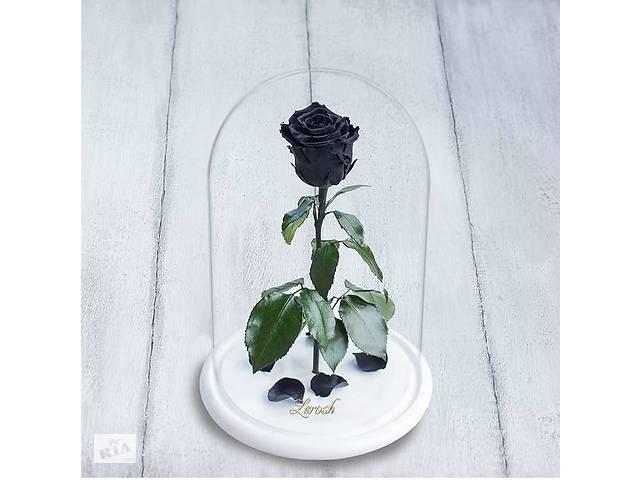 купить бу Стабилизированная роза в колбе Lerosh - Standart 33 см, Черная на белой подставке SKL15-138925 в Одессе