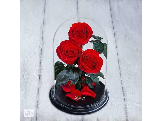 бу Стабилизированные три розы в колбе Lerosh - Premium 33 см, Красная SKL15-138957 в Одессе