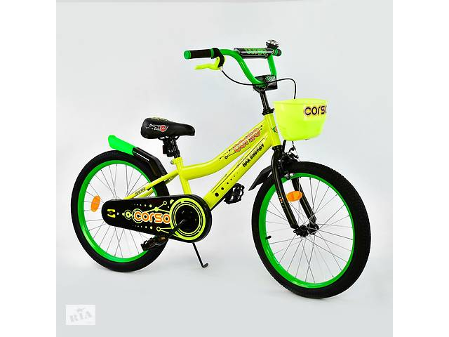 """Велосипед 20"""" дюймов 2-х колёсный R-20125 """"CORSO"""", ручной тормоз, звоночек, корзинка- объявление о продаже  в Дубно"""