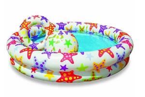 Бассейн детский надувной игровой Intex + мячик и круг на 134 литра, разноцветный