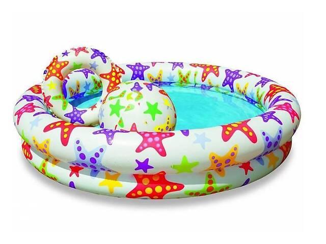 купить бу Бассейн детский надувной игровой Intex + мячик и круг на 134 литра, разноцветный в Киеве