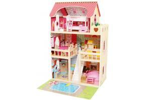Ляльковий будиночок ігровий AVKO Вілла Верона + LED підсвічування + 2 ляльки