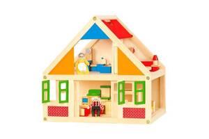 Дерев'яна екологічна іграшка ляльковий будиночок з фігурками і меблями 2 поверху Viga Toys