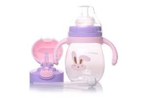 Детская бутылочка с 2 насадками LOVELY BEAR 270 мл Фиолетово-розовый
