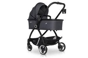 Детская коляска универсальная 2в1 Euro-Cart Crox Coal с подстаканником и чехлом на ножки + 2 дождевика, графит