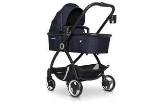 Детская коляска универсальная 2в1 Euro-Cart Crox Cosmic с подстаканником и чехлом на ножки +2 дождевика, синий