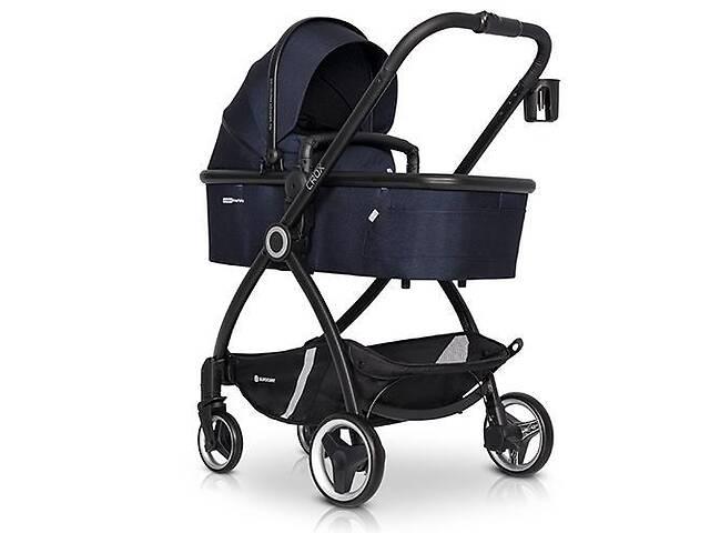 купить бу Детская коляска универсальная 2в1 Euro-Cart Crox Cosmic с подстаканником и чехлом на ножки +2 дождевика, синий в Киеве