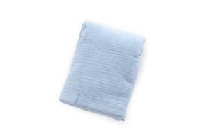 Детская муслиновая пеленка Twins 120х100 гипоаллергенная, 2-х слойная, голубая
