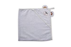 """Детское махровое полотенце-уголок с капюшоном для новорожденных Twins """"Мишка"""" после купание, 100x100, серый"""