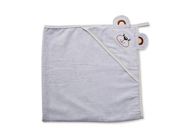Дитяче махровий рушник-куточок з капюшоном для новонароджених Twins& quot; Мишка& quot; після купання, 100x100, сірий- объявление о продаже  в Києві