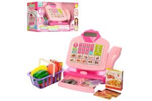Детский кассовый аппарат 66075 с калькулятором, микрофоном и сканером, продукты и деньги в комплекте