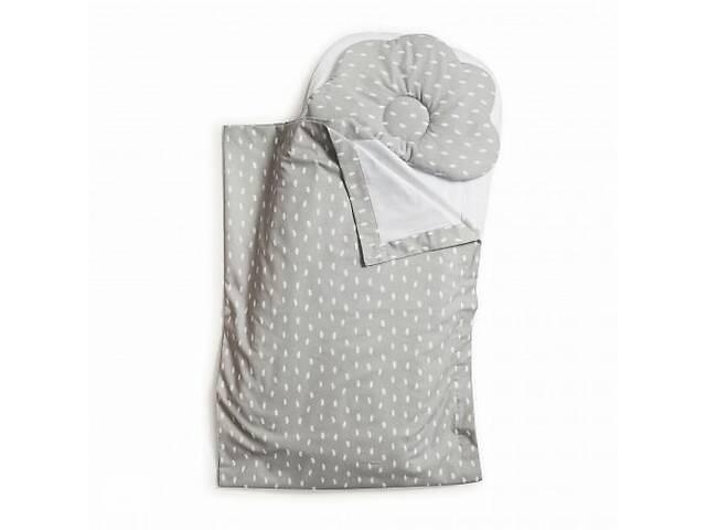 купить бу Детский набор в коляску Twins плед, подушка, простынь100% хлопок,серый. Подарок на выписку из роддома в Киеве