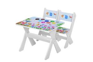 Детский стол с двумя стульчиками Bambi М 2100-19 Пейзаж белый ***