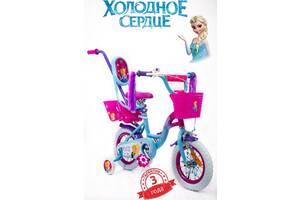 Детский велосипед для девочки розовый 12 дюймов ICE FROZEN(Холодное Сердце, Ельза) с корзинкой и багажником
