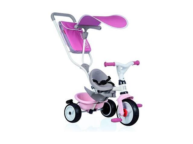 купить бу Детский велосипед Smoby с козырьком, багажником и сумкой Розово-серый (741401) в Харькове