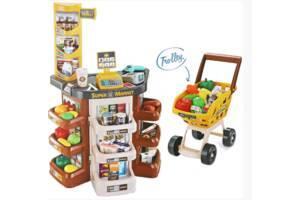 Дитячий ігровий набір супермаркет великий 668-77 візок продукти звук, світло каса коричневий