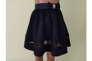 Детская школьная юбочка на резинке «Листик», модель № 44