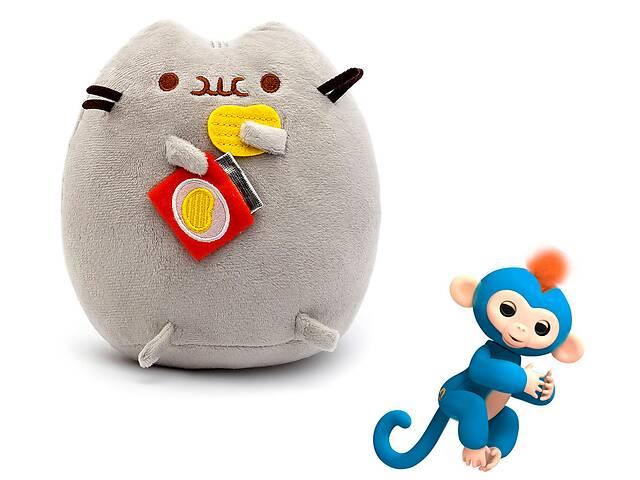 купить бу Комплект Мягкая игрушка кот с чипсами Pusheen cat и Игрушка интерактивная Happy Monkey (n-661) в Киеве