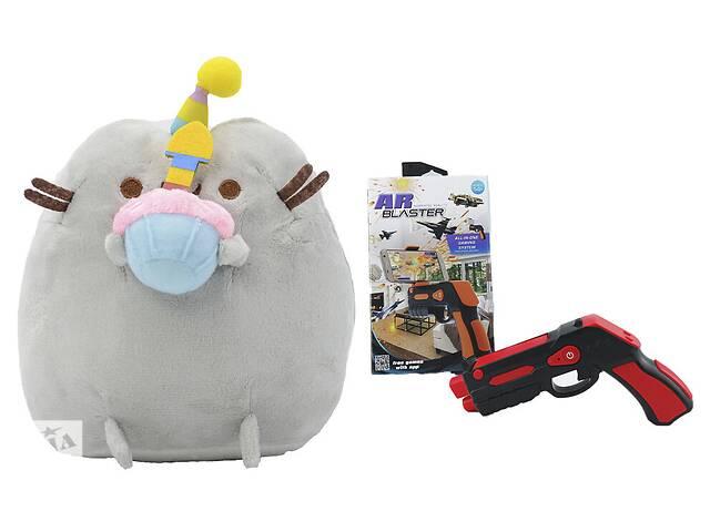 Комплект Мягкая игрушка кот с кексом Pusheen cat и Пистолет дополненной реальности Красный (n-694)- объявление о продаже  в Киеве