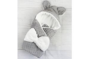 Конверт плюшевый для новорожденных на  зимний Минки Ушки двухсторонний
