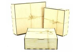 Коробка деревянная подарочная B1 бежевая