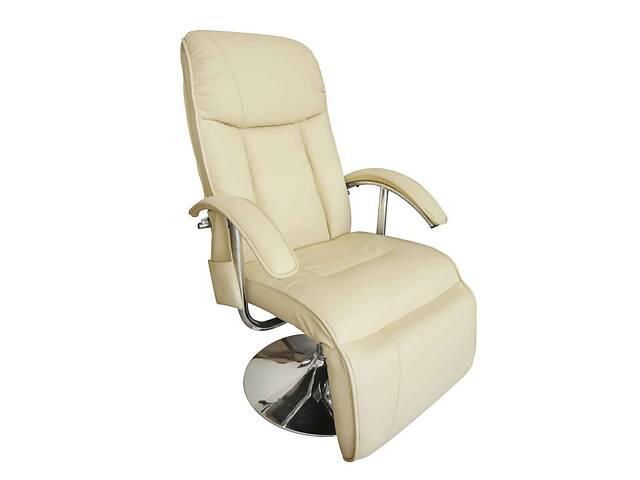 бу Кресло массажное с подставкой vidaXL 241535 эко-кожа беж в Львове
