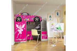 Кровать-чердак со шкафом и рабочей зоной для девочки Фея